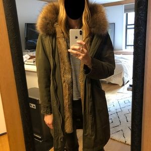 Jackets & Blazers - Authentic Rabbit fur-lined parka in army green